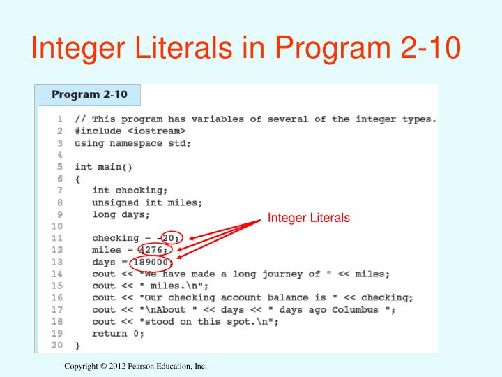 Integer Literals in Program 2-10