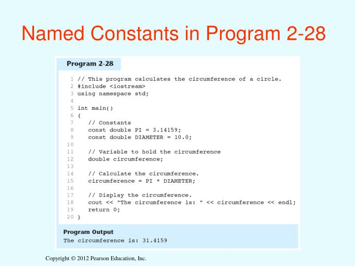 Named Constants in Program 2-28