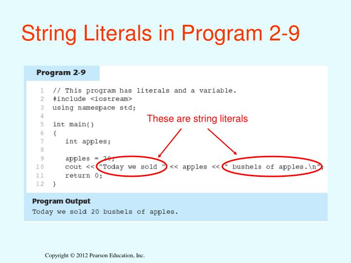 String Literals in Program 2-9
