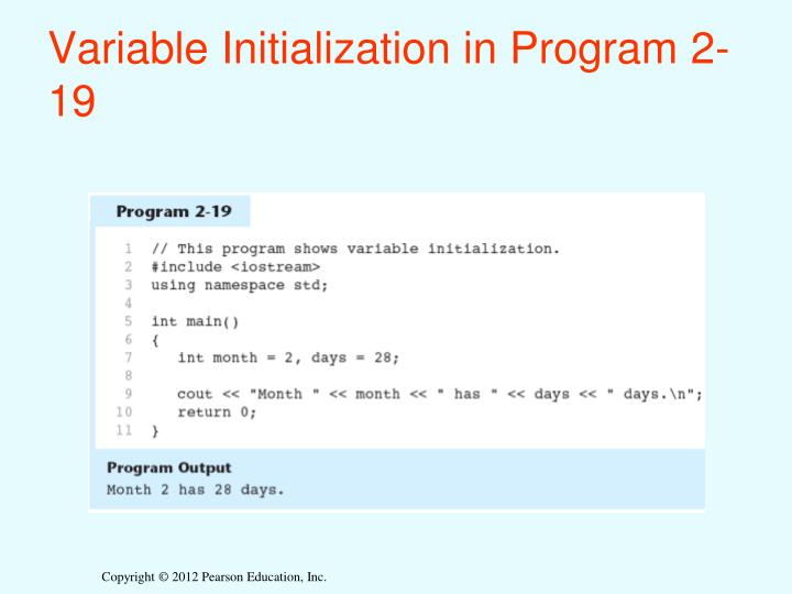Variable Initialization in Program 2-19