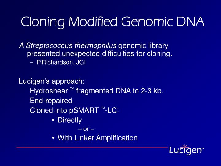 Cloning Modified Genomic DNA