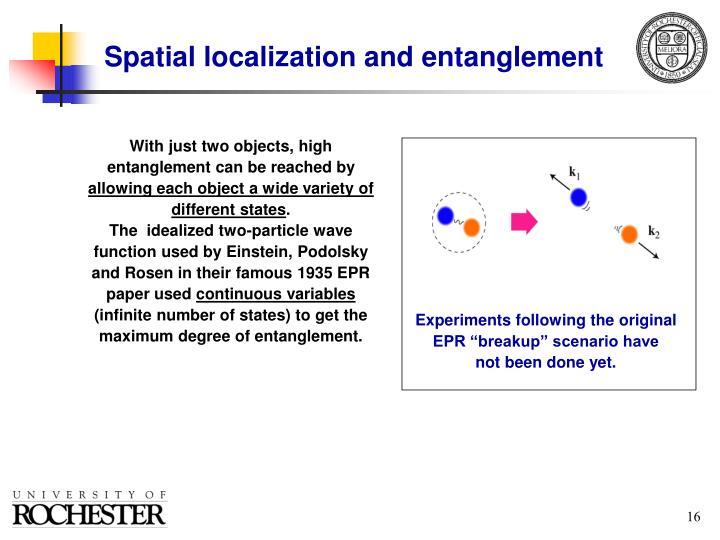 "Experiments following the original EPR ""breakup"" scenario have"