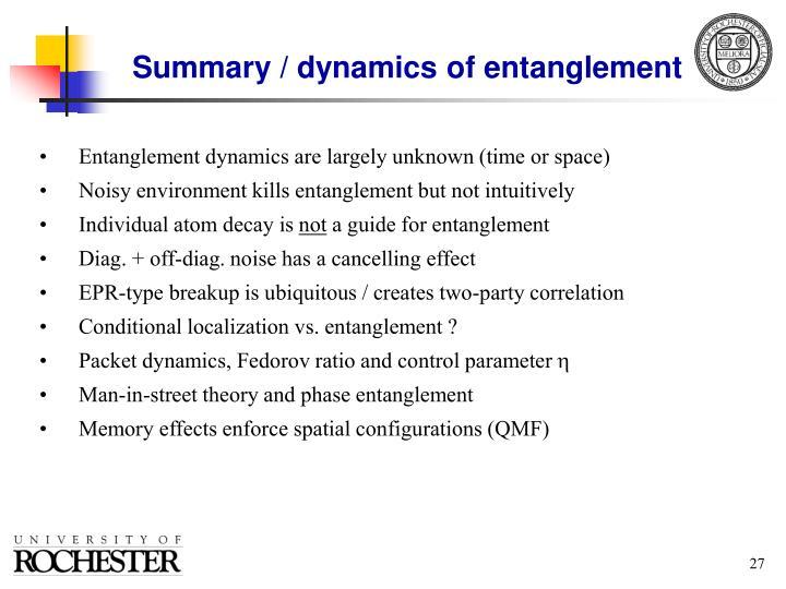 Summary / dynamics of entanglement