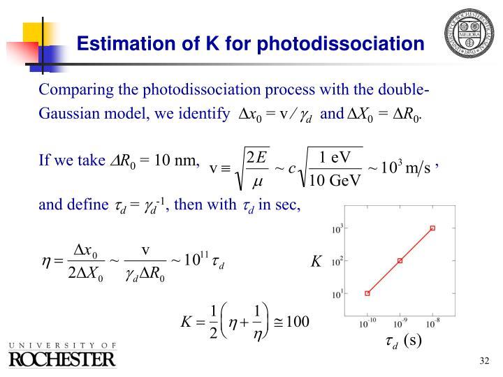 Estimation of K for photodissociation