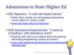 admissions to state higher ed
