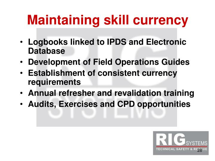 Maintaining skill currency