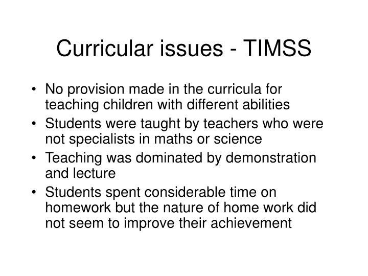 Curricular issues - TIMSS