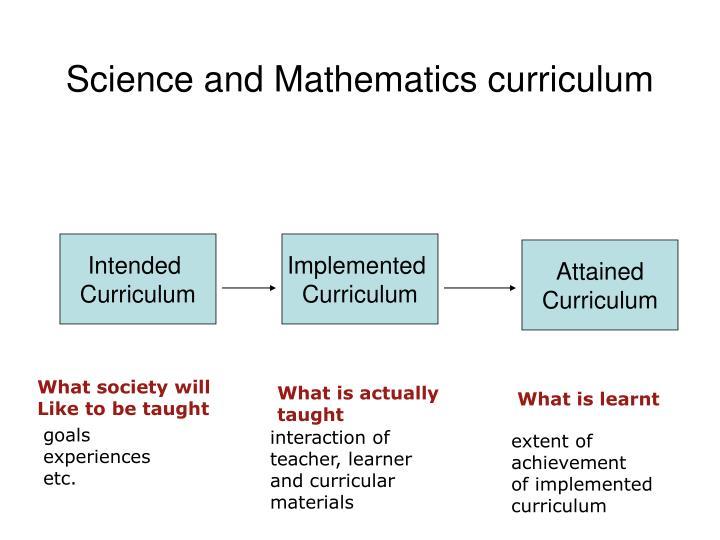 Science and Mathematics curriculum