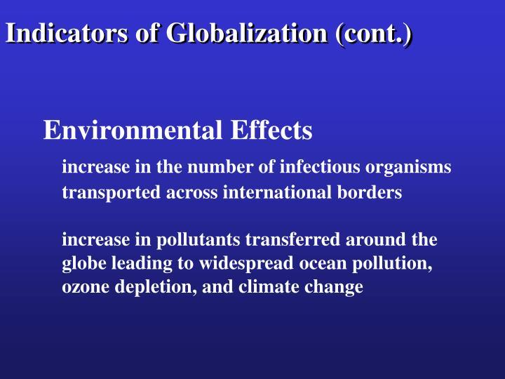 Indicators of Globalization (cont.)