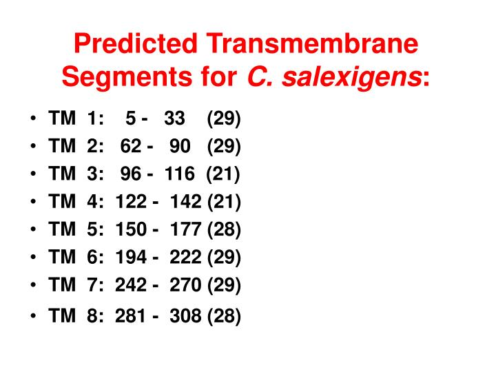 Predicted Transmembrane Segments for