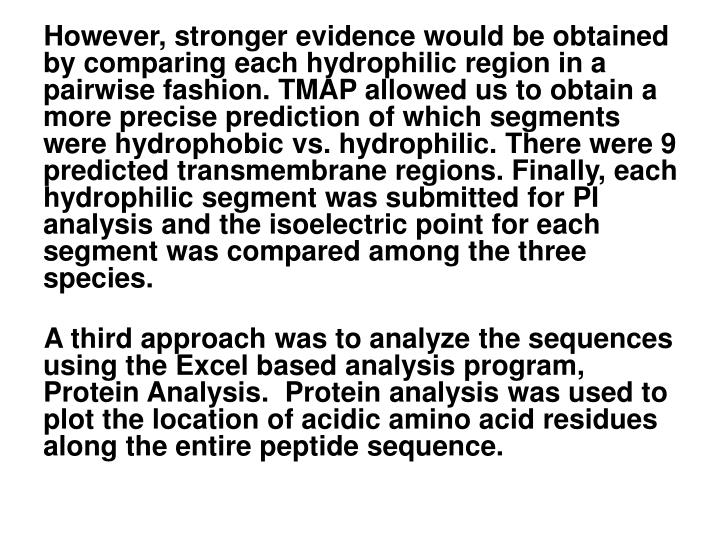 However, stronger evidence would be obtained by comparing each hydrophilic region in a pairwise fashion. TMAP allowed us to obtain a more precise prediction of which segments were hydrophobic vs. hydrophilic. There were 9 predicted transmembrane regions. Finally, each hydrophilic segment was submitted for PI analysis and the isoelectric point for each segment was compared among the three species.