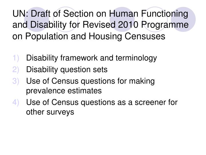 UN: Draft of Section on Human Functioning and Disability for Revised 2010 Programme on Population an...