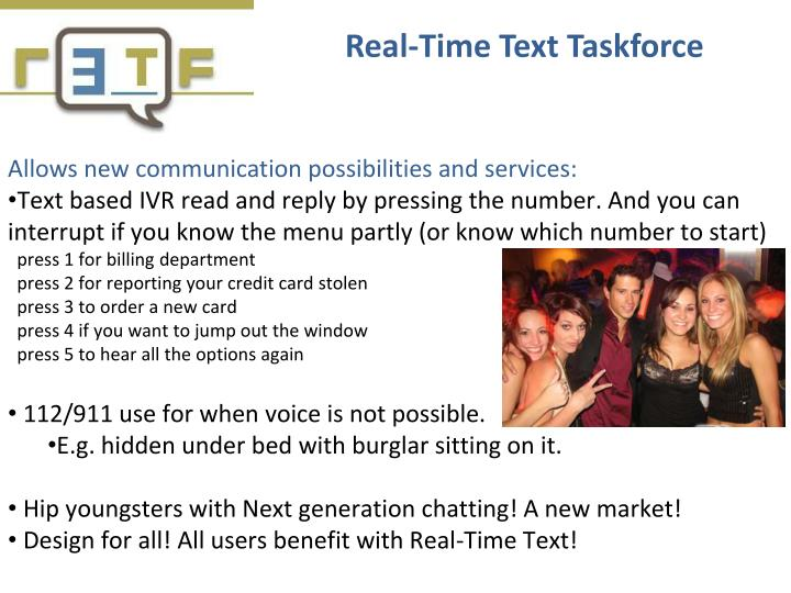 Real-Time Text Taskforce