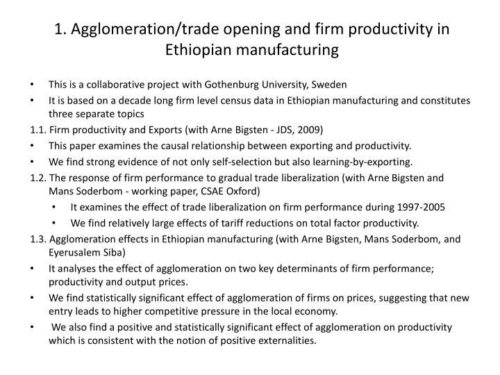 1. Agglomeration