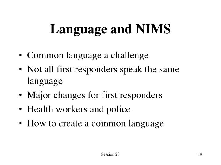 Language and NIMS