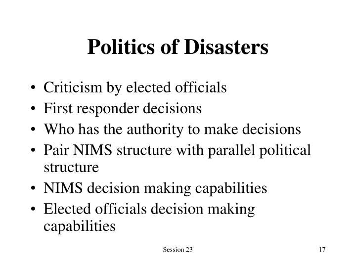 Politics of Disasters