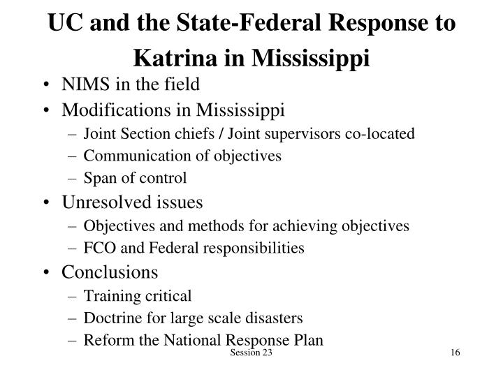 UC and the State-Federal Response to Katrina in Mississippi