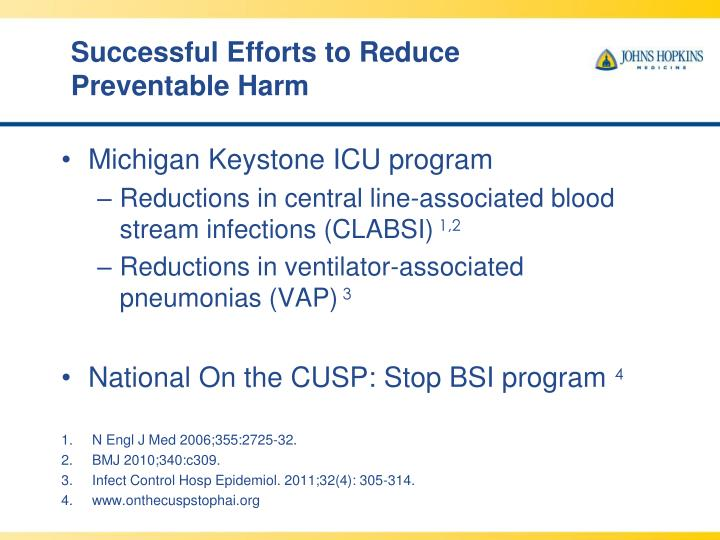 Successful Efforts to Reduce Preventable Harm