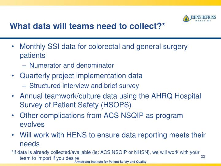 What data will teams need to collect?*