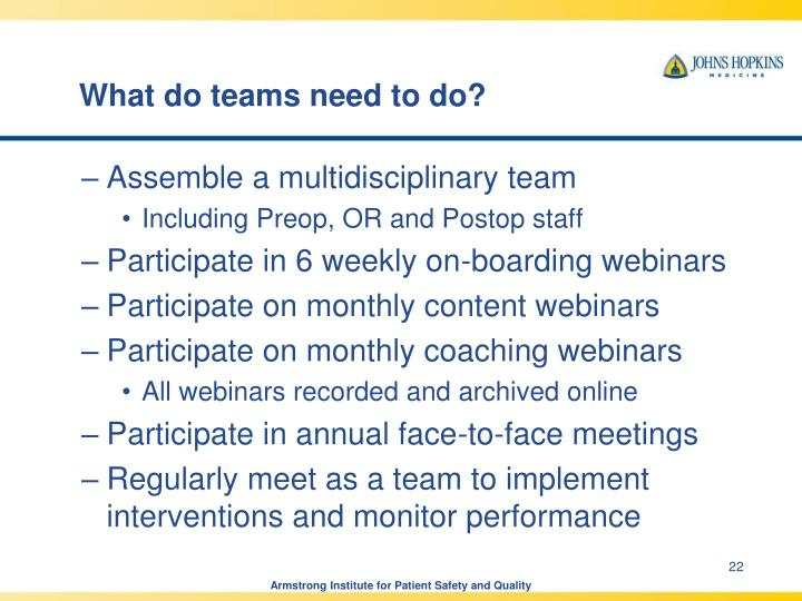What do teams need to do?