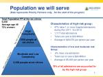 population we will serve data represents priority partners only for the start of the program