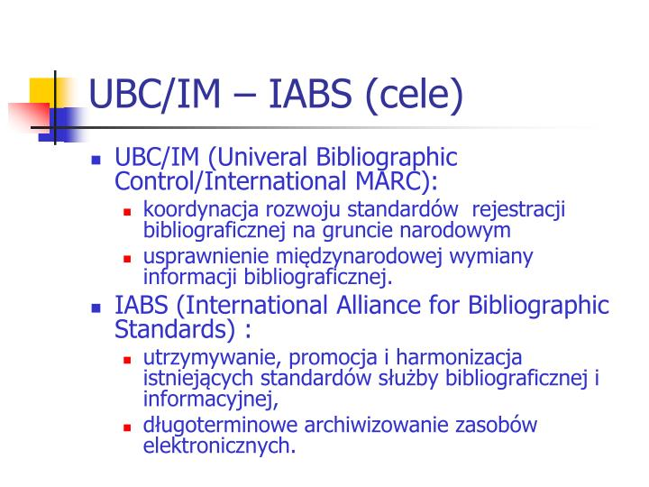 UBC/IM – IABS (cele)