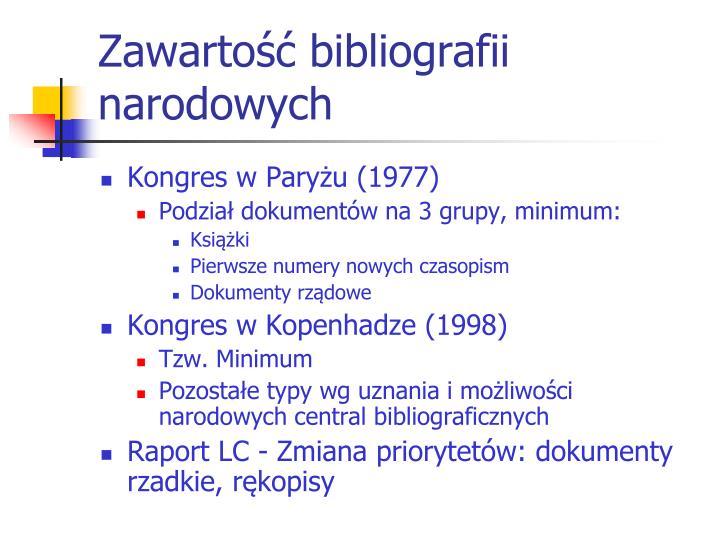 Zawartość bibliografii narodowych