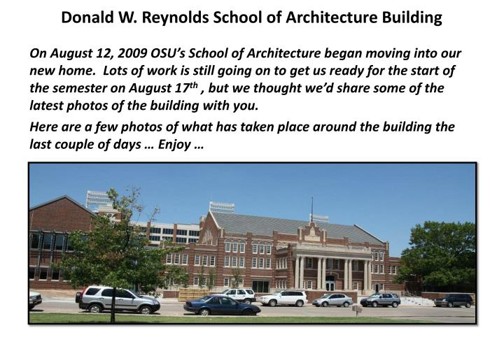 Donald W. Reynolds School of Architecture Building