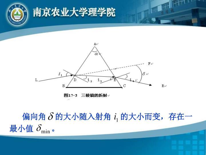 偏向角    的大小随入射角    的大小而变,存在一最小值        。