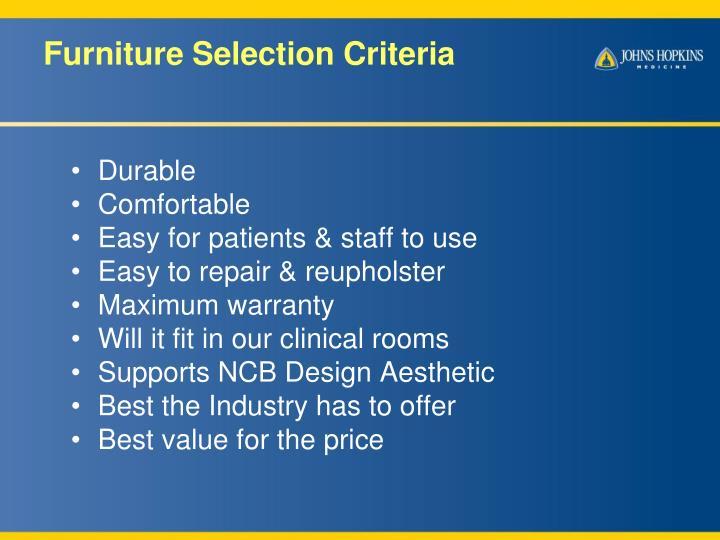 Furniture Selection Criteria