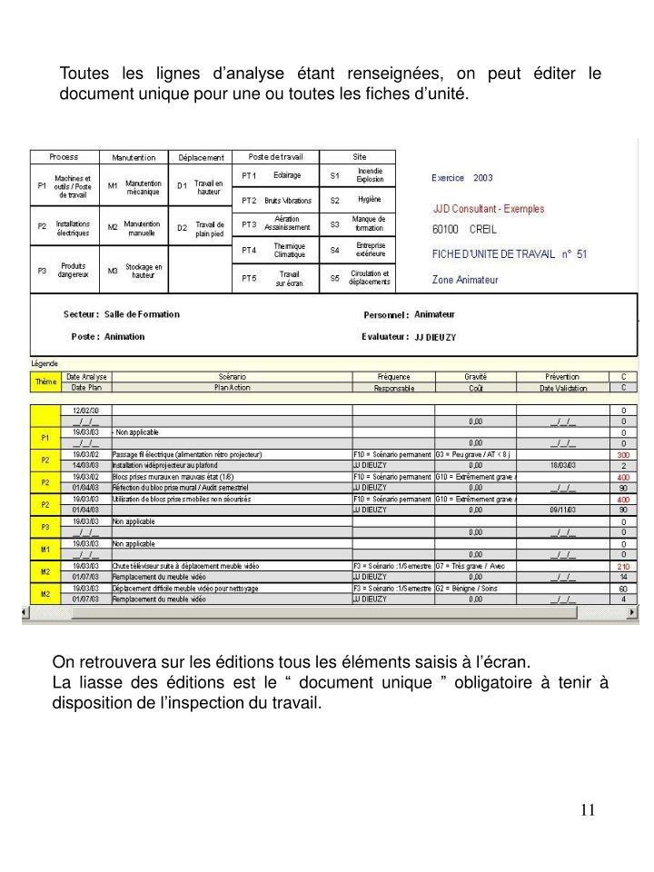 Toutes les lignes d'analyse étant renseignées, on peut éditer le document unique pour une ou toutes les fiches d'unité.