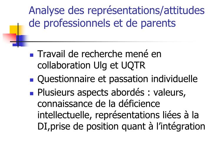 Analyse des représentations/attitudes de professionnels et de parents