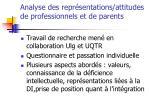 analyse des repr sentations attitudes de professionnels et de parents