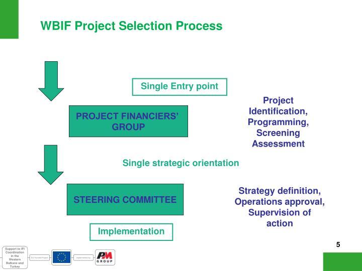 WBIF Project Selection Process
