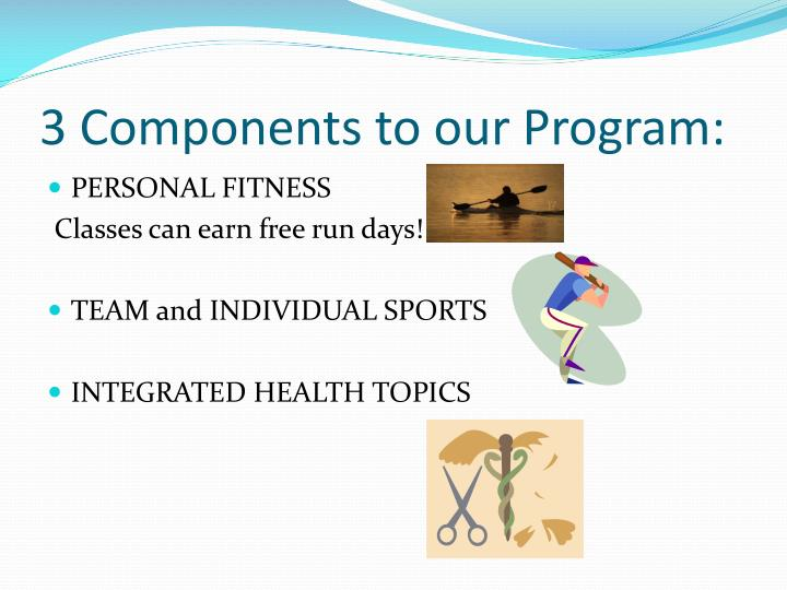 3 Components to our Program: