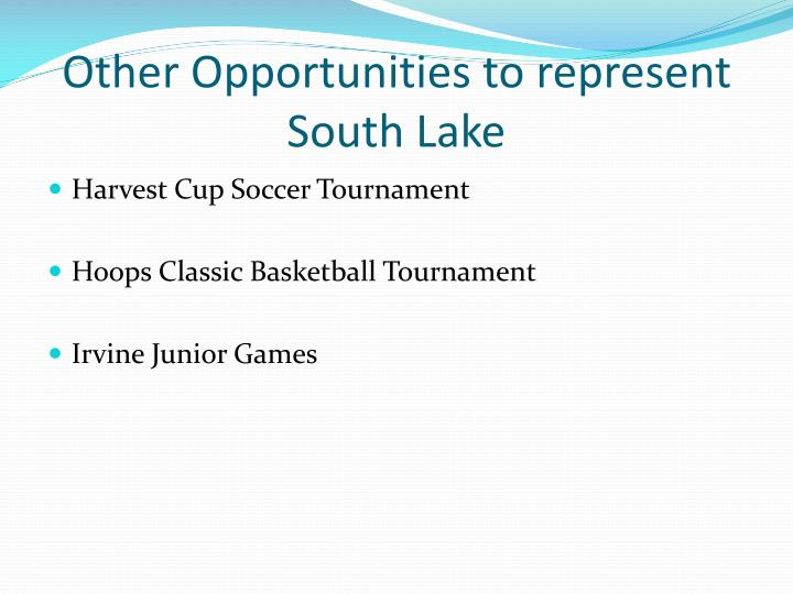 Other Opportunities to represent South Lake