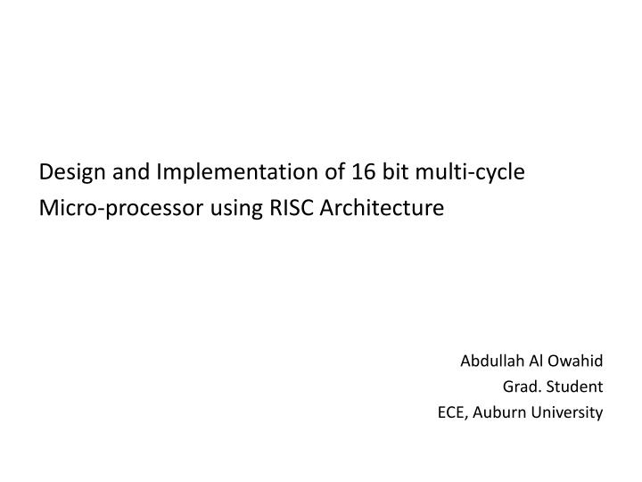 Design and Implementation of 16 bit multi-cycle