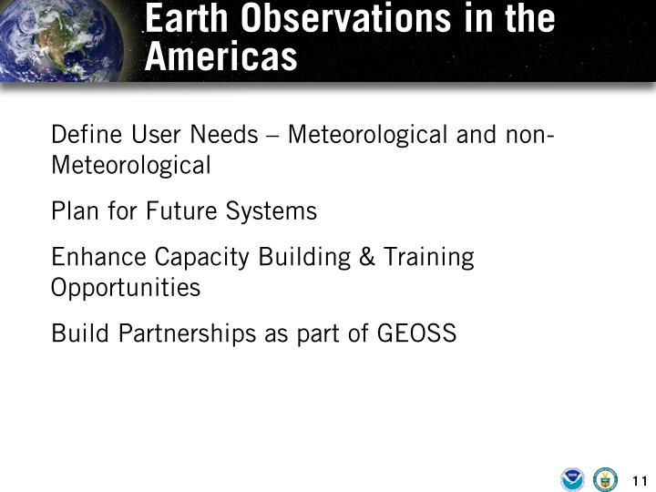 Earth Observations in the Americas