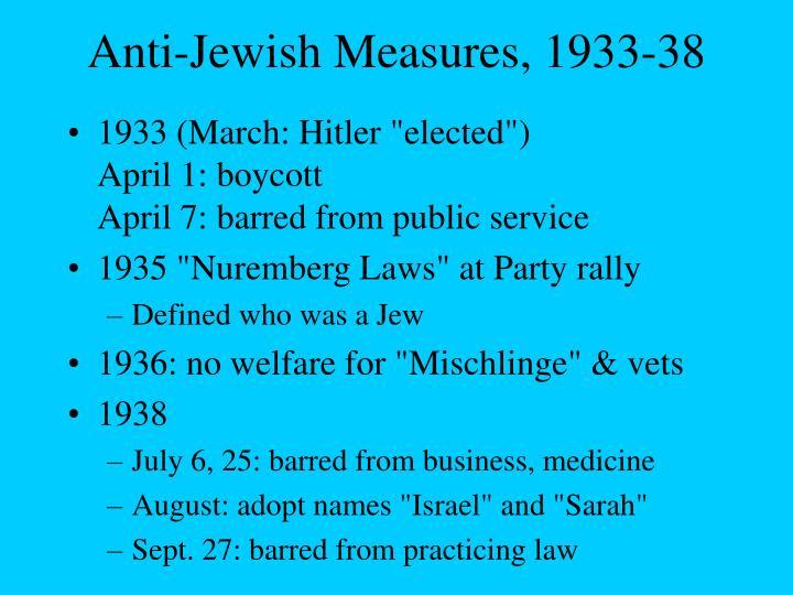 Anti-Jewish Measures, 1933-38