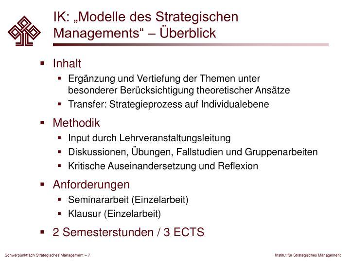"""IK: """"Modelle des Strategischen Managements"""" – Überblick"""