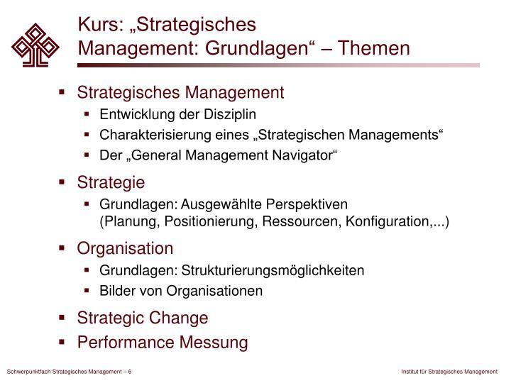 """Kurs: """"Strategisches"""