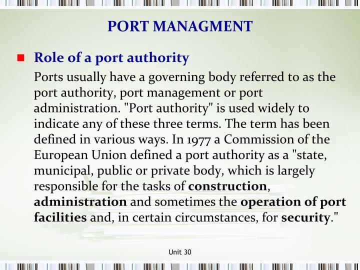 PORT MANAGMENT