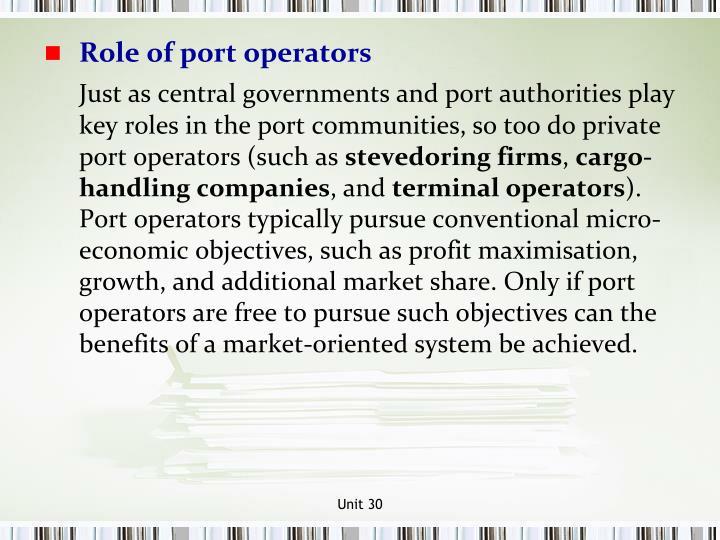 Role of port operators