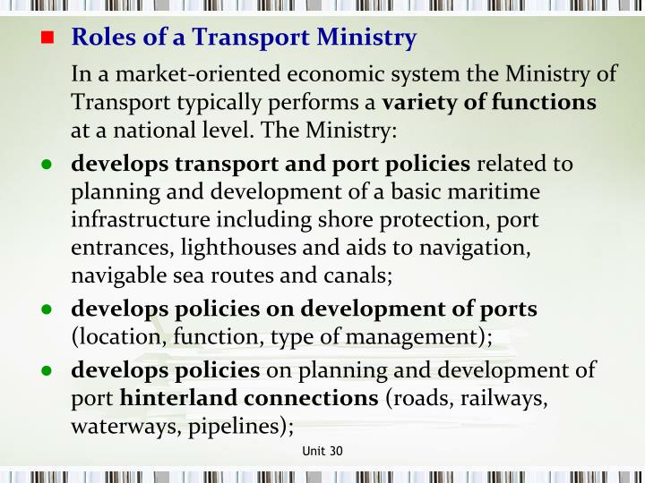 Roles of a Transport Ministry