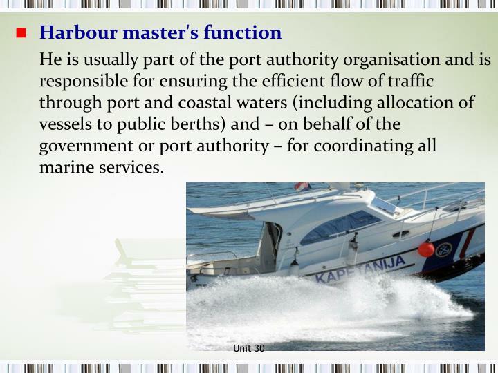 Harbour master's function