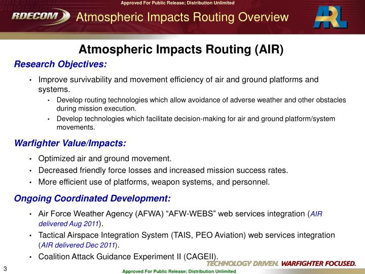 Atmospheric Impacts Routing Overview