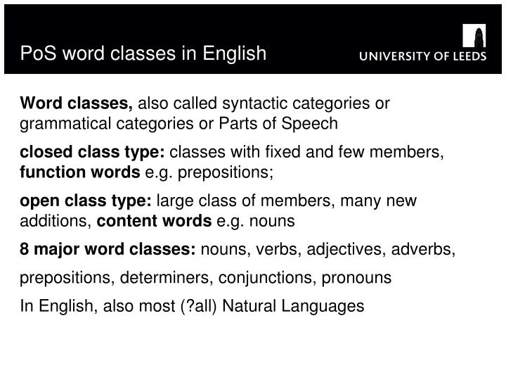 PoS word classes in English