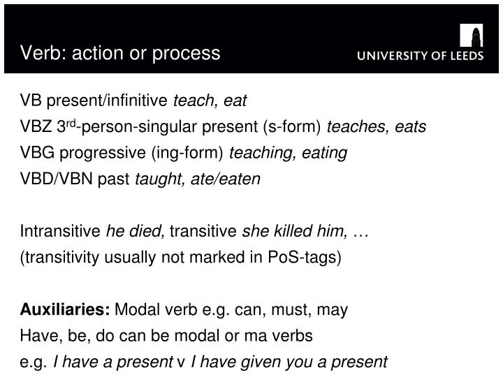 Verb: action or process
