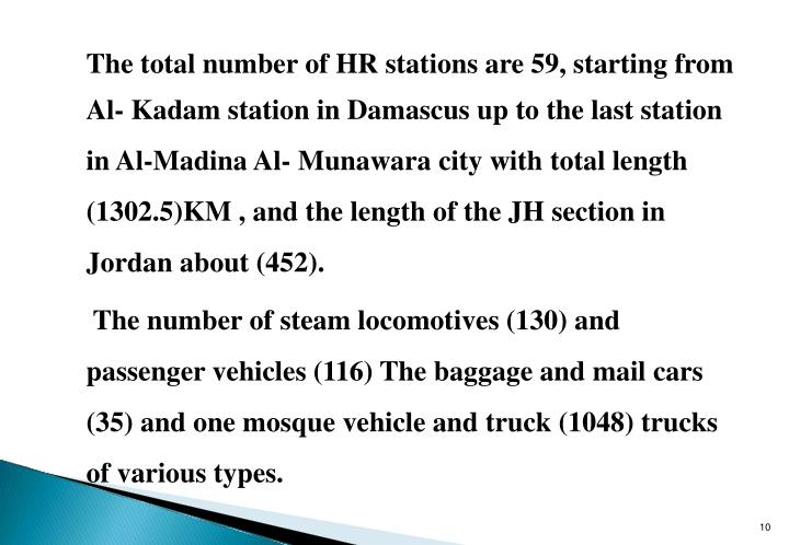 The total number of HR stations are 59, starting from