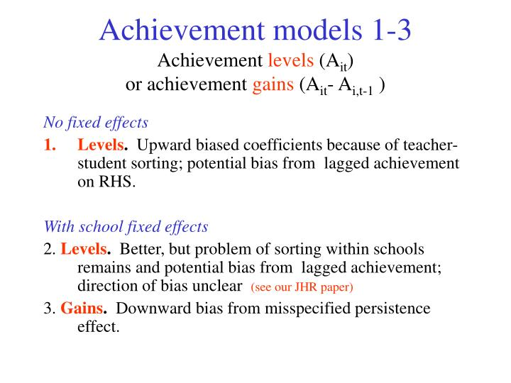 Achievement models 1-3